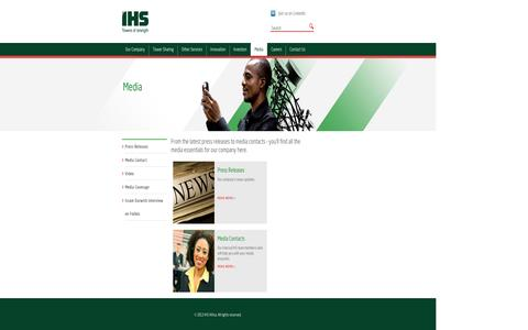 Screenshot of Press Page ihstowers.com - IHS :: Media - captured Sept. 10, 2014