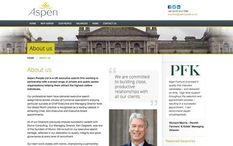 Screenshot of About Page aspenpeople.co.uk - Aspen People Ltd | About us - Aspen People Ltd - working in partnership with a broad range of private and public sector organisations helping them attract the highest calibre individuals - captured Oct. 4, 2014