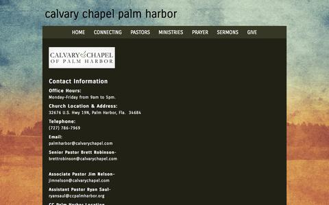 Screenshot of Contact Page ccpalmharbor.org - Contact «  calvary chapel palm harbor - captured Oct. 1, 2014