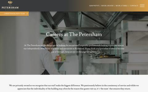 Screenshot of Jobs Page petershamhotel.co.uk - Hospitality Careers in Richmond | The Petersham Hotel - captured Oct. 18, 2018