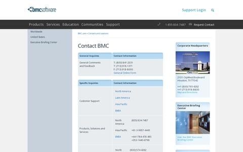Screenshot of Contact Page bmc.com - Contact BMC - BMC Software - captured July 19, 2014