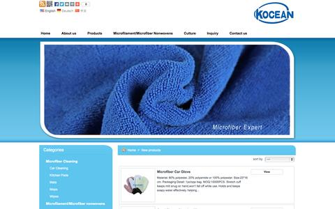 Screenshot of Products Page kocean.net - Kocean  Materials Co.,Limited  - New products - captured Oct. 6, 2014