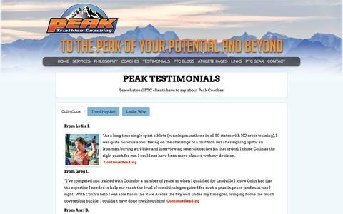 Screenshot of Testimonials Page peaktricoaching.com - Testimonials - captured Jan. 8, 2016