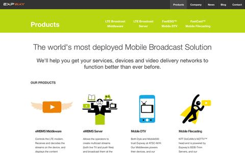 Screenshot of Products Page expway.com - Mobile Broadcast Solutions to do Filecasting, deliver EPG, and to log the end-user behavior - captured Sept. 30, 2014