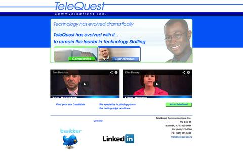 Screenshot of Home Page telequest.org - TeleQuest - Telecom Staffing and Contracting - captured Oct. 6, 2014