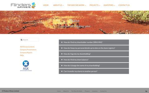 Screenshot of FAQ Page flindersmines.com - FAQs - Flinders Mines - captured Oct. 10, 2018