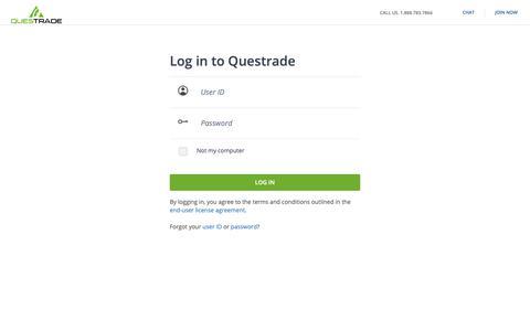 Screenshot of Login Page questrade.com - Log in to Questrade - captured June 15, 2019