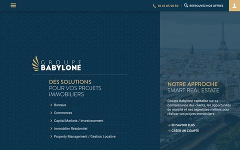 Screenshot of Home Page groupebabylone.fr - Babylone - Offres de bureaux, commerces, entrepôts ou locaux d'activités - captured July 25, 2018
