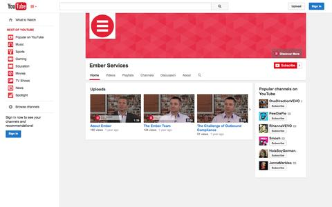Screenshot of YouTube Page youtube.com - Ember Services  - YouTube - captured Oct. 22, 2014