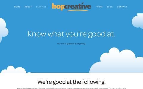 Screenshot of Services Page hopcreative.com - Web & Graphic Design, Development, UX, SquareSpace Ń Hop Creative Đ Web Design | Graphic Design :: Halifax, Nova Scotia - captured Dec. 12, 2015
