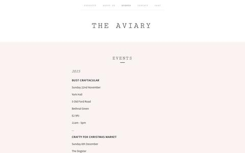 Screenshot of Press Page the-aviary.co.uk - EVENTS  / The Aviary - captured Aug. 14, 2016