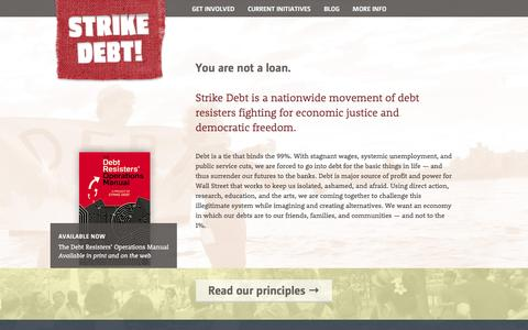 Screenshot of Home Page strikedebt.org - Strike Debt! - Debt Resistance for the 99% - captured June 15, 2016