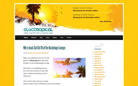 Screenshot of Home Page electropical.ca - Electropical | Urban sounds with a tropical edge - captured Oct. 2, 2014