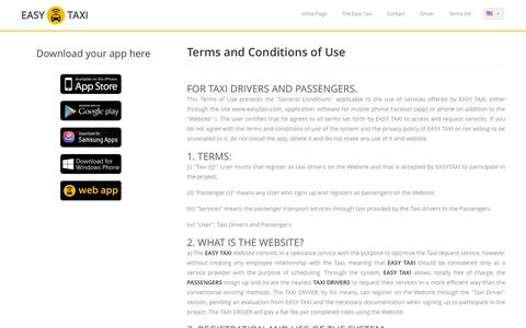 Screenshot of Terms Page easytaxi.com - Easy Taxi | Terms - captured Sept. 16, 2014