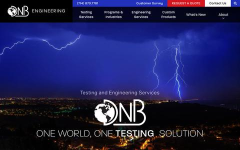 Screenshot of Home Page dnbenginc.com - DNB Engineering | Electromagnetic Compatibility Testing and Related Services since 1979 - captured Oct. 11, 2017