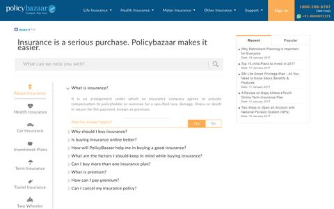 Screenshot of FAQ Page policybazaar.com - Insurance FAQs | Frequently Asked Questions On insurance - captured Jan. 20, 2017
