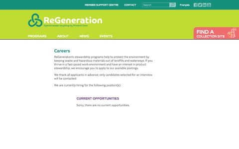 Screenshot of Jobs Page regeneration.ca - Careers | ReGeneration - captured Nov. 2, 2014