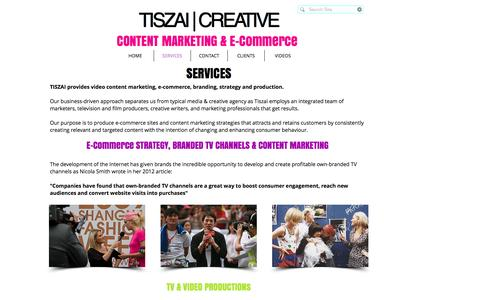 Screenshot of Services Page tiszai.net - Video Content Marketing - captured Dec. 3, 2016