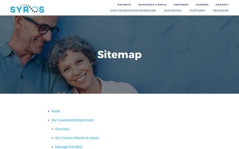 Screenshot of Site Map Page syros.com - Sitemap :: Syros Pharmaceuticals, Inc. (SYRS) - captured Oct. 24, 2017