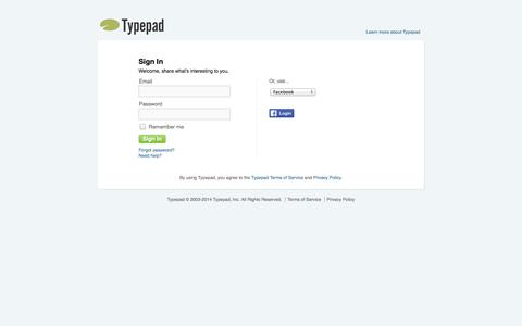 Screenshot of Login Page typepad.com - Typepad - Sign in to your account - captured Oct. 29, 2014