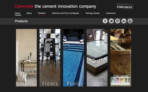 Screenshot of Products Page cemcrete.co.za - Products  |  Cemcrete - captured Oct. 28, 2014