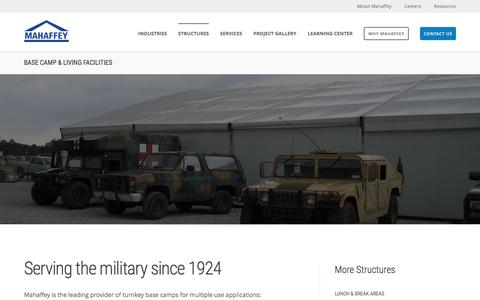 Screenshot of mahaffeyusa.com - Base Camp & Living Facilities - captured March 20, 2016