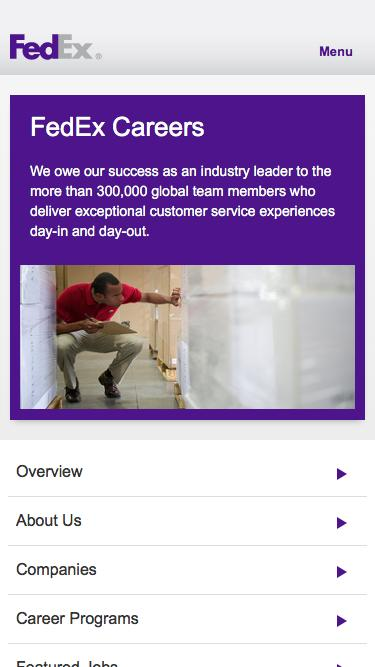 Screenshot of Jobs Page  fedex.com - Welcome to the FedEx Careers site and thank you for visiting.  - FedEx Careers FedEx Careers