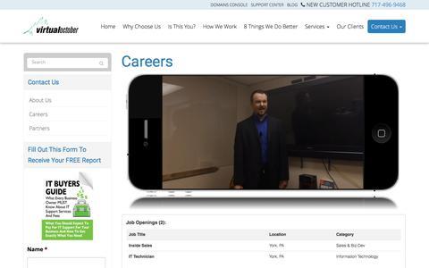 Screenshot of Jobs Page virtualoctober.com - Careers - York, Lancaster, Harrisburg | Virtual October - captured Feb. 14, 2016