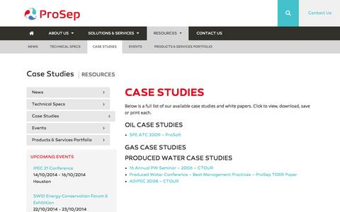 Screenshot of Case Studies Page prosep.com - Case Studies - ProSep - captured Oct. 10, 2014