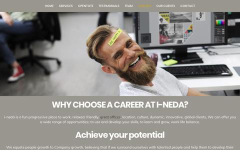 Screenshot of Jobs Page i-neda.com - Careers at i-neda - Farnborough Business Park, Hampshire - captured Oct. 1, 2018