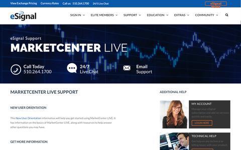 Screenshot of Trial Page esignal.com - MarketCenter LIVE | eSignal:Stock Charting Software, Best Day Trading Platform - captured Nov. 11, 2016