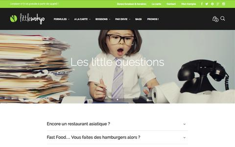 Screenshot of FAQ Page littlewokyo.com - Les little questions - Restaurant Little Wokyo Nantes - captured Sept. 30, 2014