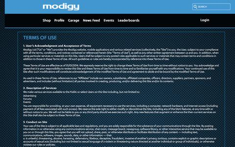 Screenshot of Terms Page modigy.com - modigy - captured June 12, 2017
