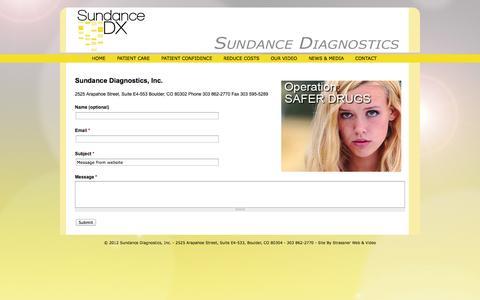 Screenshot of Contact Page sundancedx.com - CONTACT   Sundance Diagnostics - captured Sept. 17, 2014