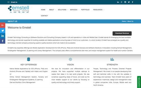 Screenshot of About Page emstell.com - Emstell Technology - About Us - captured Nov. 8, 2016
