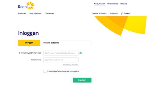 Screenshot of Login Page reaal.nl - Inloggen - Reaal - captured Jan. 14, 2020