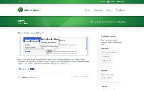 Screenshot of Press Page casepacer.com - News «  Case Pacer - captured Sept. 29, 2014