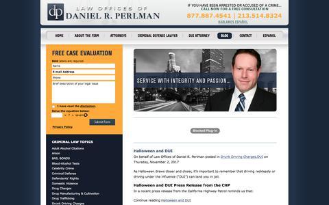 Screenshot of Blog danielperlmanlaw.com - Los Angeles DUI Attorney Blog | Criminal Defense Lawyers LA - captured Nov. 6, 2017
