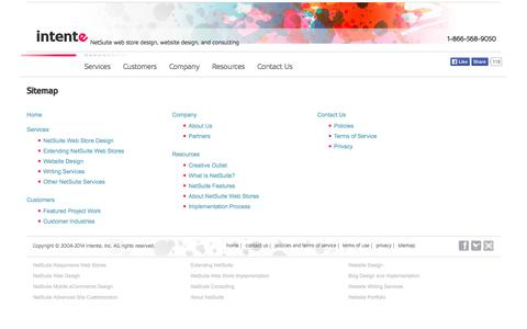 Screenshot of Site Map Page intente.net - NetSuite web store design, website design, and consulting | Intente - Sitemap - captured Oct. 6, 2014