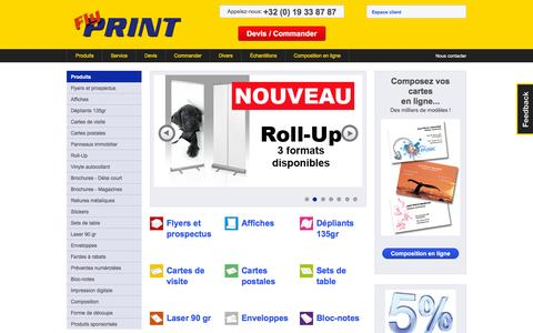 Screenshot of Home Page flyprint.be - Flyers, affiches et cartes de visite : Flyprint, votre imprimeur! - captured Oct. 16, 2015
