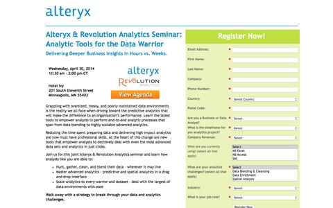 Screenshot of Landing Page alteryx.com - Analytic Tools for the Data Warrior - captured Dec. 17, 2015