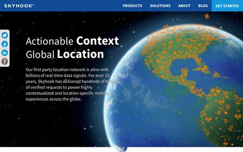 Screenshot of Home Page skyhookwireless.com - Skyhook | Global Location and Context Software Products - captured Jan. 14, 2015