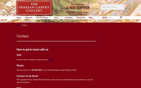 Screenshot of Contact Page persiancarpetgallery.com - Contact   - captured July 20, 2015