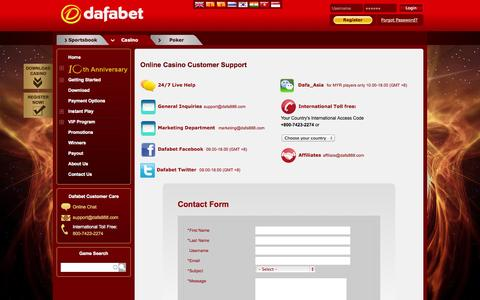 Screenshot of Support Page dafa888.com - 24/7 Customer Support at Online Asian Casino - captured Nov. 1, 2014