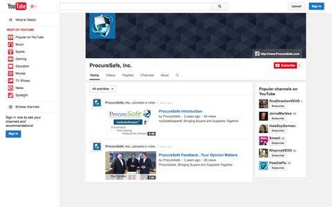 Screenshot of YouTube Page youtube.com - ProcureSafe, Inc.  - YouTube - captured Oct. 25, 2014