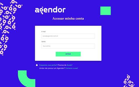 Screenshot of Login Page agendor.com.br - Entrar - CRM Online Agendor - Uma plataforma de aprimoramento em vendas que ajuda milhares de vendedores a alcançarem todo o seu potencial! - captured Jan. 22, 2019