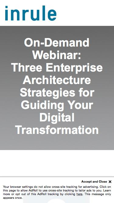 On-Demand Webinar - Three Enterprise Architecture Strategies for Guiding Your Digital Transformation