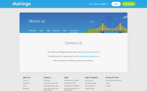 Screenshot of Contact Page duolingo.com - Contact - Duolingo - captured Aug. 3, 2016