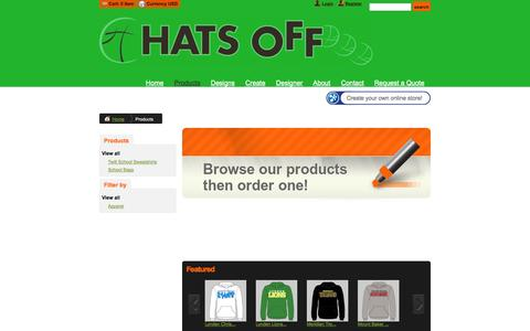 Screenshot of Products Page hatsofflynden.com - Products - hatsofflynden - captured Oct. 2, 2014