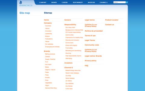 Screenshot of Site Map Page generalmills.com - General Mills: Site Map - captured Nov. 1, 2014